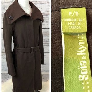 •Soia & Kyo• Wool Trench Coat Brown Winter Sz S